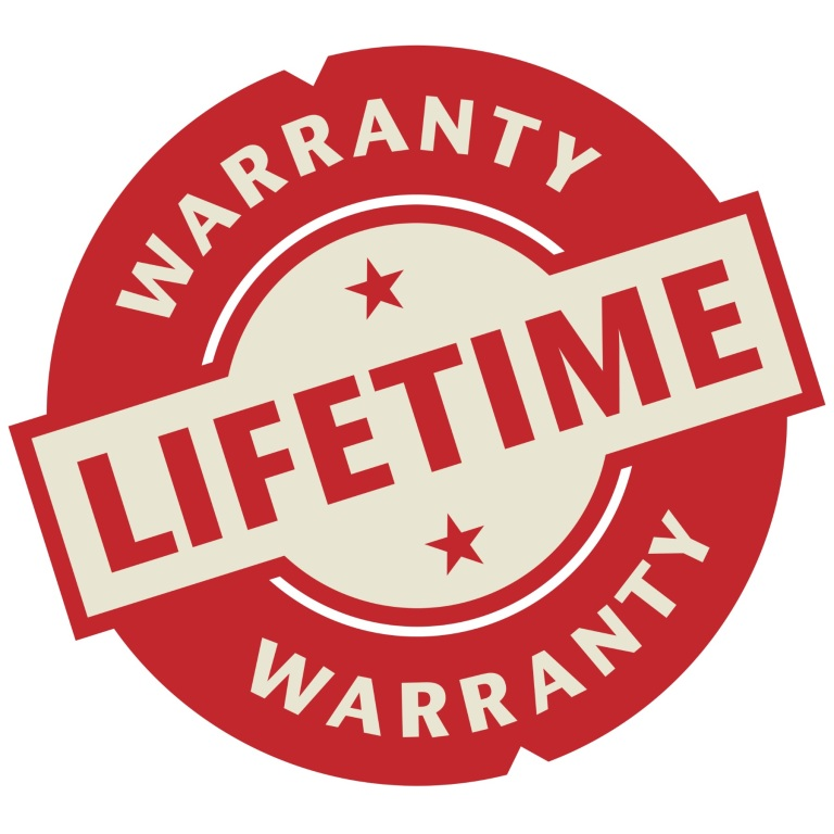 Stamp or label with the text Lifetime Warranty